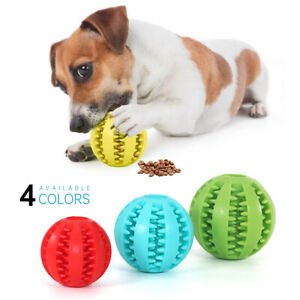 Pet Puppy Rubber Training Ball Dog Teething Dental Healthy Treat Chew Clean Toy