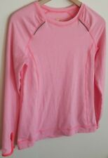 LUCY TECH TOP SHIRT ATHLETIC LONG SLEEVE THUMB HOLES STRETCH PINK/WHITE SZ S