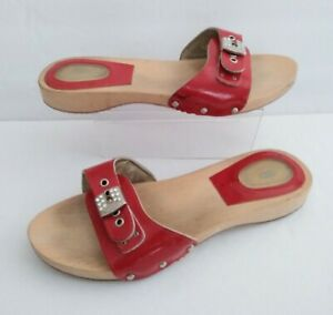 Dr SCHOLL'S Exercise Wood Base Sandals Red Leather Strap w Crystal Trim Sz 8