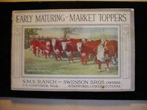 """PB Book """"Early Maturing (Texas Cattle) Market Toppers, S.M.S. Ranch, c.1917"""