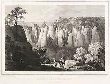 SÄCHSISCHE SCHWEIZ - BASTEIBRÜCKE - Elbstrom - Kreidelithografie 1845