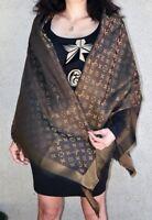 NEW LV Monogram Silk/Wool Shine Scarf/Shawl 100% Authentic M75122 Louis Vuitton