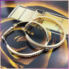 4CM 18k GOLD PLATED Crystal Stud HOOP HUGGIE Dangle EARRINGS