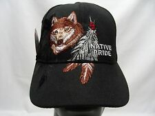 NATIVE PRIDE - WOLF - BLACK - ADJUSTABLE BALL CAP HAT!