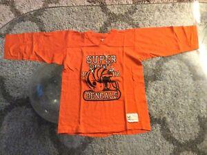 Cincinnati Bengals Super Bowl 1982 Orange 3/4 Sleeve Shirt Youth Kids Medium