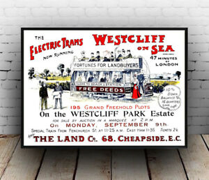 Electric Trams Westcliff on sea ,  Vintage house Auction Poster reproduction.