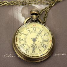 Vintage Steampunk Retro Bronze Design Pocket Watch Quartz Pendant Necklace Hot