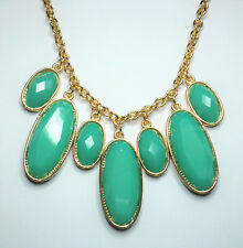 Turquoise green opaque glass seven drop gold tone necklace approx. 48 to 55cm