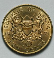1971 KENYA Coin -10 Cents - AU - some mint lustre & toning spots