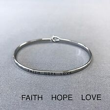 Simple Silver Faith Hope Love Engraving Vintage Brass Classic Bangle