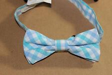 NWT J.CREW Crewcuts Boy's Cotton White Multi- Blue Check Adjustable Bow Tie OS