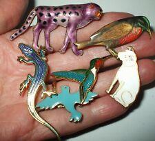 Pretty Vintage -Now Enamel Animal Pin Brooch Lot Dog Birds Lizard Cheetah?
