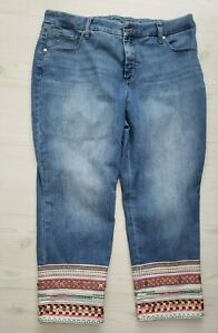 Chicos So Slimming Girlfriend Slim Leg Crop Tapestry Beaded Jeans Size 12P (2)
