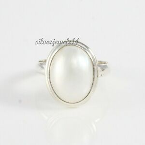 Oval white Pearl 925 Sterling Silver Genuine Pearl Ring Handmade Gift Ring