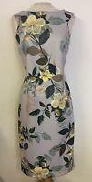 Per Una M&S Scuba Bodycon Shift Grey Floral Dress Size 12