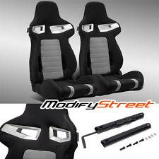 2 X Jdm Blackgrey Pineapple Seat Fabric Leftright Racing Bucket Seats Slider