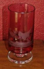 ETCHED CRANBERRY GLASS SIGNED