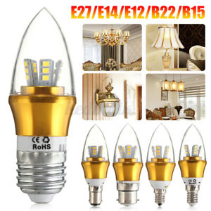 10W E27 E14 E12 B22 B15 LED Candle Bulb Home Chandeliers Desk Lamp Wall Sconce
