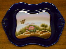 "Antique Butterfly Floral & Blue Old Paris English Porcelain Tray -10 3/4""x8 1/4"""