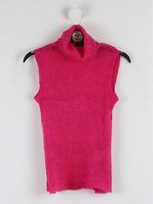 DKNY Jeans Womens Hot Pink Fine Knit Turtle Neck Vest Size S (UK Size 8)