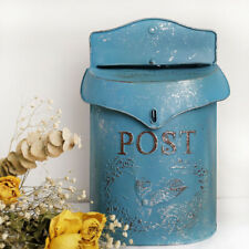 Rustic Vintage Metal Mailbox Letter Post Box Embossed Shabby Chic Primitive Box