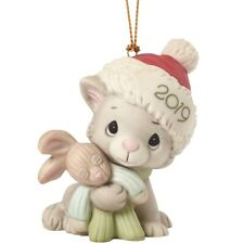 # New Precious Moments Porcelain Ornament 2019 Christmas Dated Cat Kitten Bunny