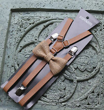 Brown tan Leather Suspenders burlap bow tie ,Men's Suspenders,Groomsmen