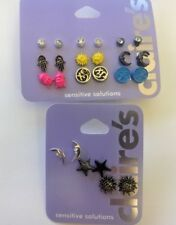 Claire's Sensitive Solution Earrings Moon, Star, sun --Brand New 12 pairs