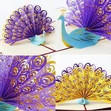 New 3D Pop Up Peacock Greeting Card Birthday Anniversary Love Valentine Day Gift
