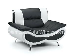 Sofa Napoli Faux Leather 3+2 Seater + Arm Chair, Coffee Table Black - Grey White