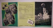 ORIGINAL EXAKTA VAREX 24X36 IHAGEE DRESDEN 1954 Prospekt Kamera