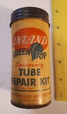 "RARE AMERICAN""INLAND GREEN TOP TUBE REPAIR KIT"" CARDBOARD TUBE W/ LID & CONTENTS"