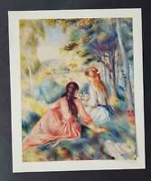 """Pierre Renoir """"In The Meadow""""  Mounted Offset Color Lithograph 1950"""