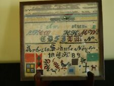 Antique 1889 Alphabet School Girl Sampler On Linen