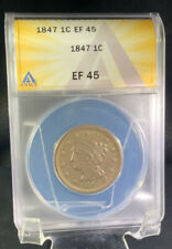 1847 One Cent Braided hair Large Cent  - ANACS EF 45 (XF Extra Fine)