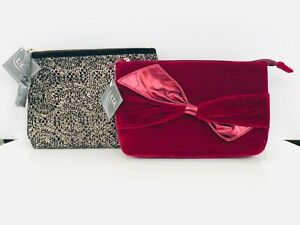 Ulta Travel Makeup Bags, Luxe Gift Clutches - Velvet & Metallic - NEW W/ TAGS