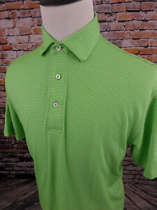 OXFORD GOLF Men's Casual Golf Shirt Super Dry Green White Dots sz Medium M