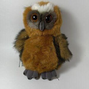 Vintage Brown Hoot Owl Plush Hoo Tan Realistic Bird Aurora A&A Plush Colorful
