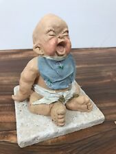 1993 Screaming Ugly Baby Infant w/ Bib Cast Art Figurine Signed Kristin Haynes