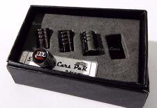 4X TAPPI COPRIVALVOLE NERI auto cerchi Audi s line pneumatici ruote gomme ALLUMI