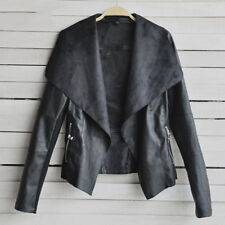 Women's PU Leather Jacket Biker Motorcycle Zip Up Lapel Blazer Coat Outwear Tops