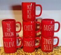 "Rae Dunn Mug Christmas JINGLE,""TIS THE SEASON,JINGLE BELLS,BELIEVE,CHEER,HOHOHO"