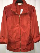 Chicos Zenergy Finley Perforated Suede Detail Jacket Red Ochre size 3 16 18 L XL