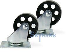 "2-Pc. 3"" 350-lb Capacity All-Steel Wide Wheel Swivel Top Plate Casters"