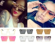 Womens Oversized Flat Lens Rimless Square Sunglasses Mens Fashion Large Glasses