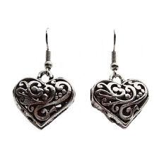 bijou gothique Boucles d'oreilles Caroline coeur filigrané en argent tibétain