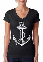 Anchor V-NECK WOMEN T-Shirt Ship Ocean Pirate Sailing Sea Cool Gift Ladies Shirt
