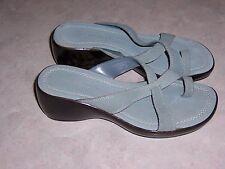 HILLARD & HANSON Lexi Blue Suede Sandals Wedge Heels Womens Shoes Size 5.5M EUC