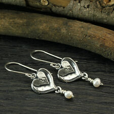 Sterling Silver Cultured Pearl Heart Dangle Earrings Bridal Wedding Jewelry X379