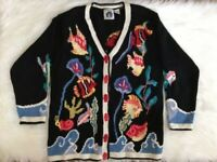 Storybook Knits Sweater LARGE Cardigan Black colorful fish aquariumHSN
